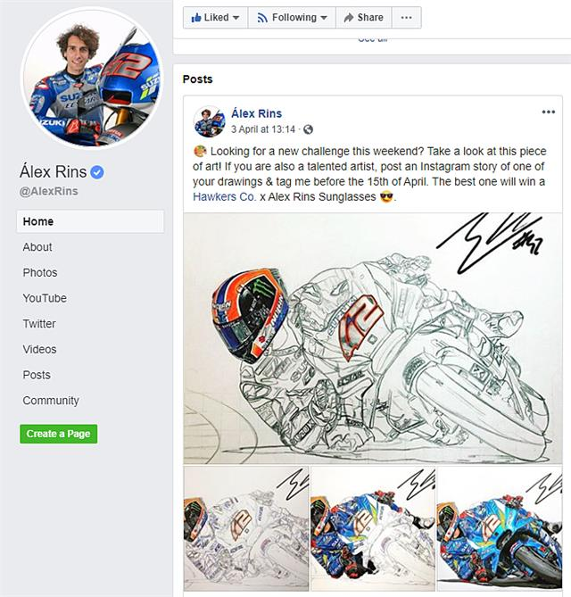 RidersAtHome-Alex Rins colouring competition